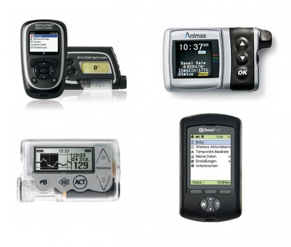 Welche Insulinpumpe soll es sein? Akku Chek Combo, Animas IR 2020, Medtronic Paradigm Veo oder myLife OmniPod 2 (v.l.n.r.)