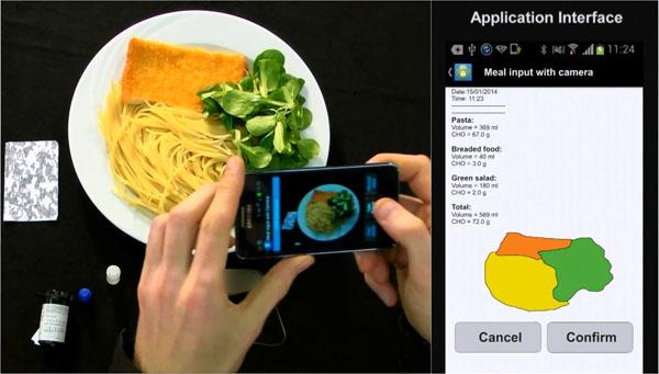 """So funktioniert die """"GoCARB-App"""", die automatisch den Kohlenhydrat-Gehalt einer Mahlzeit berechnen kann. Foto: Stavroula Mougiakakou, ARTORG Center, Universität Bern."""