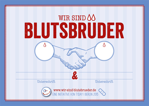 """""""Wir sind Blutsbrüder"""" lautet die Devise einer bundesweiten Social-Media-Kampagne. Quelle: """"Wir sind Blutsbrüder"""""""