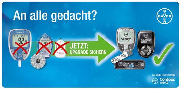 Die Sensoren der Blutzuckermesssysteme Contour®, Elite® und Breeze® 2 werden ab Mai 2016 nicht mehr in Deutschland vertrieben. Quelle: Bayer Vital GmbH (Contour® Next Systeme)/Sebastian Weiß. (http://www.diabetes.bayer.de/)