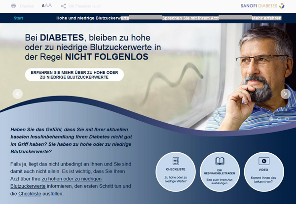 Auf der Online-Plattform www.diabetes-unter-kontrolle.de informiert Sanofi alle Diabetiker darüber, wie wichtig eine gute Blutzuckereinstellung ist. Quelle: www.diabetes-unter-kontrolle.de