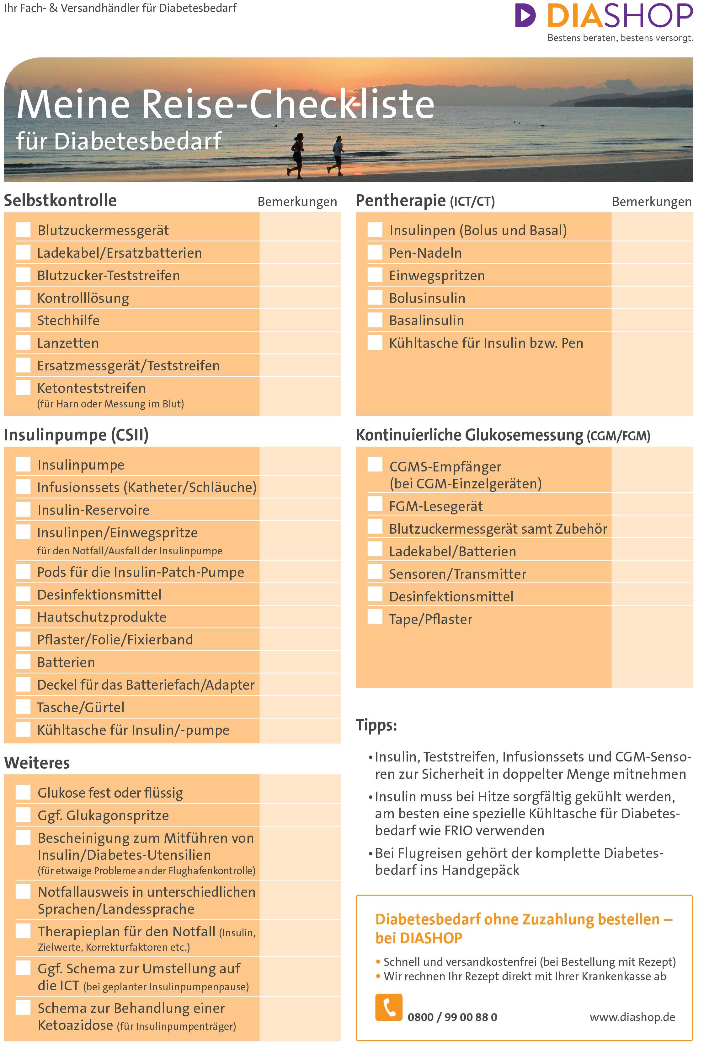 Reise-Checkliste Diabetes