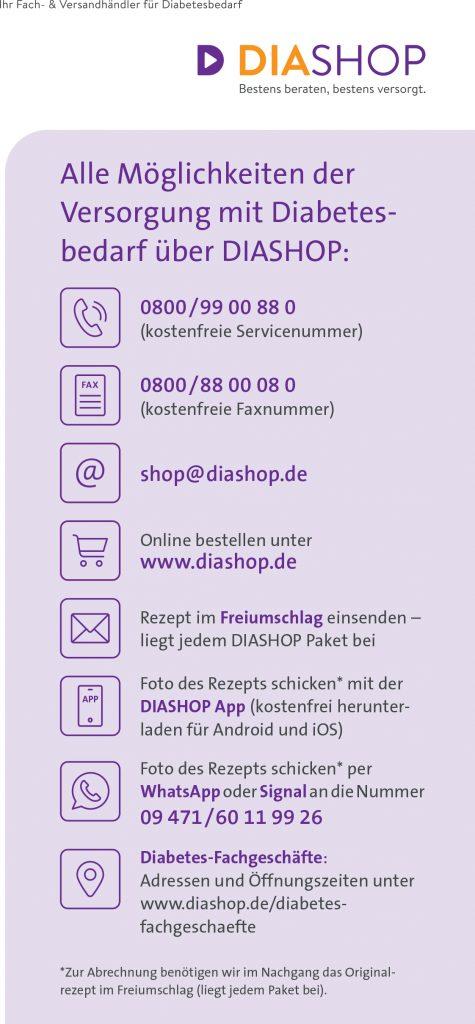 Kontaktfrei Diabetesbedarf über DIASHOP nach Hause liefern